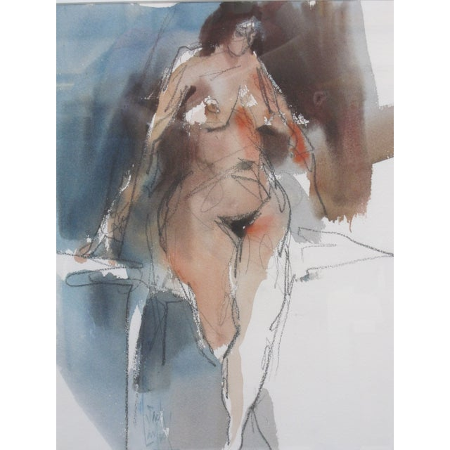 1970s Vintage Jack Laycox Abstract Female Nude Watercolor Painting For Sale - Image 4 of 6
