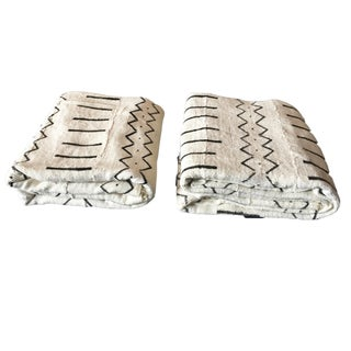 "African Black & White Mud Cloth Textiles Mali 42"" by 58"" Pair For Sale"