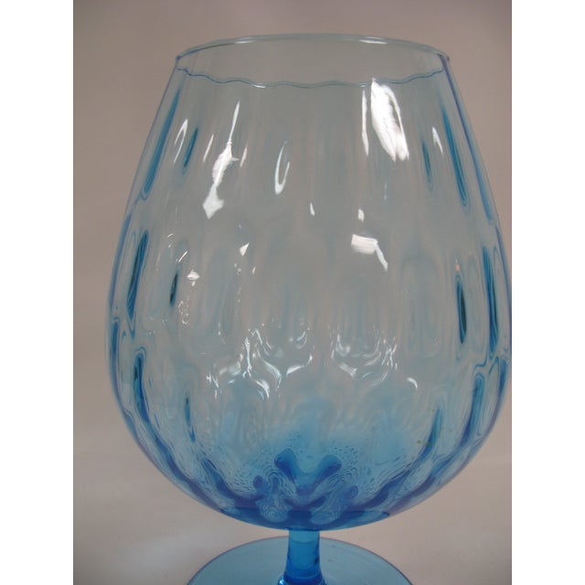 1960s 1960s Empoli Aqua Blue Optic Glass Snifter Vase For Sale - Image 5 of 13