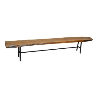 Free Form Studio Made Long Walnut Bench