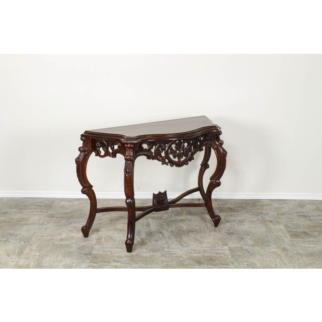 Brown Traditional Carved Wood Console Table, Vintage Carved Wood Console For Sale - Image 8 of 10