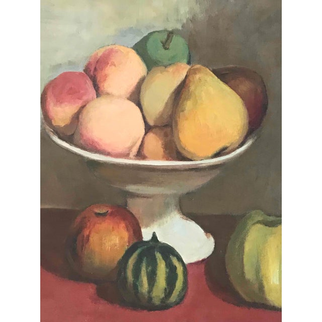 Edwardian Still Life Oil Painting on Canvas of Fruit Bowl From France Circa 1900 For Sale - Image 3 of 5