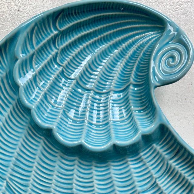 Modern Vintage Sadek by Andrea Blue & Antique White Ceramic Oyster Shell Serving Platter For Sale - Image 4 of 9