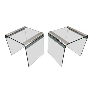 Irving Rosen for Pace Waterfall Glass and Chrome Side Tables - a Pair For Sale