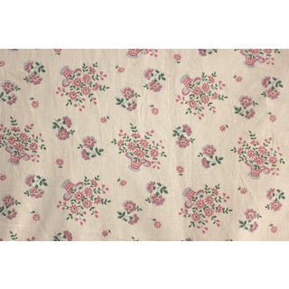 20th Century French Floral Fabric White Pink & Green Cotton Fabric - 27ʺW × 40ʺD For Sale