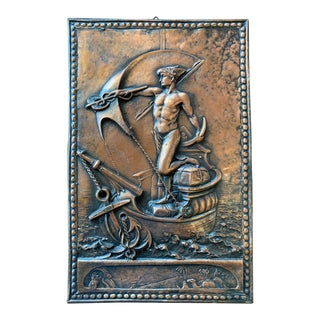 Antique Hermes/ Mercury Gd of Trade Copper Plaque For Sale