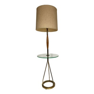 1960s Mid-Century Wood and Glass Side Table With Floor Lamp Attributed to Gerald Thurston For Sale