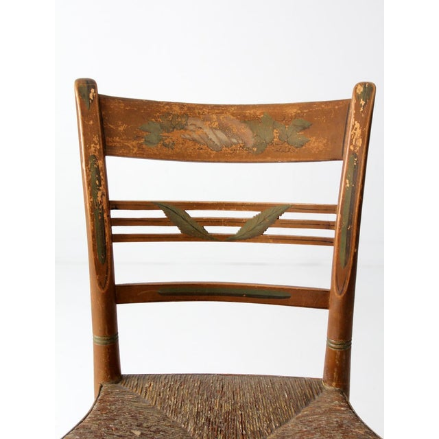 Antique Painted Rush Seat Chair For Sale - Image 6 of 8 - Antique Painted Rush Seat Chair Chairish