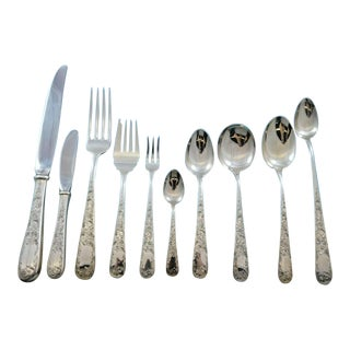 Old Maryland Engraved by Kirk Sterling Silver Flatware Dinner Service - 108 Pc Set For Sale