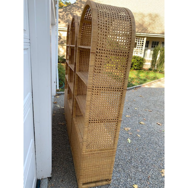 1970's Bielecky Style Rattan and Brass Bookshelves-Set of 3 For Sale - Image 10 of 13