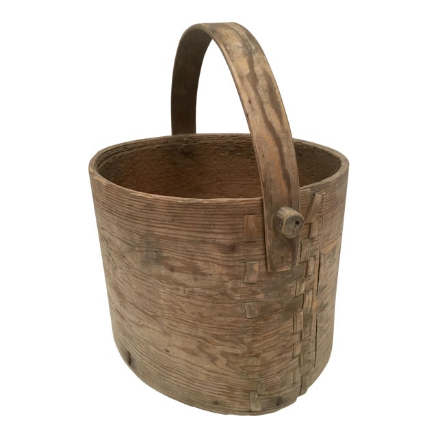 Antique Wood Butter & Cheese Basket For Sale