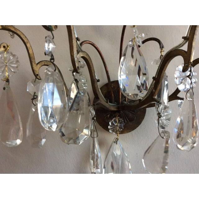 French Bronze & Crystal Wall Sconces - Set of 6 - Image 6 of 8