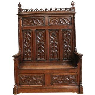 1880 French Gothic Antique Bench Heavily Carved For Sale