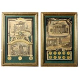 Image of Early 1800s Antique Italian Neoclassical Hand Colored Roman Temple & Ruins Engravings in Gilt Wood Frames - a Pair For Sale