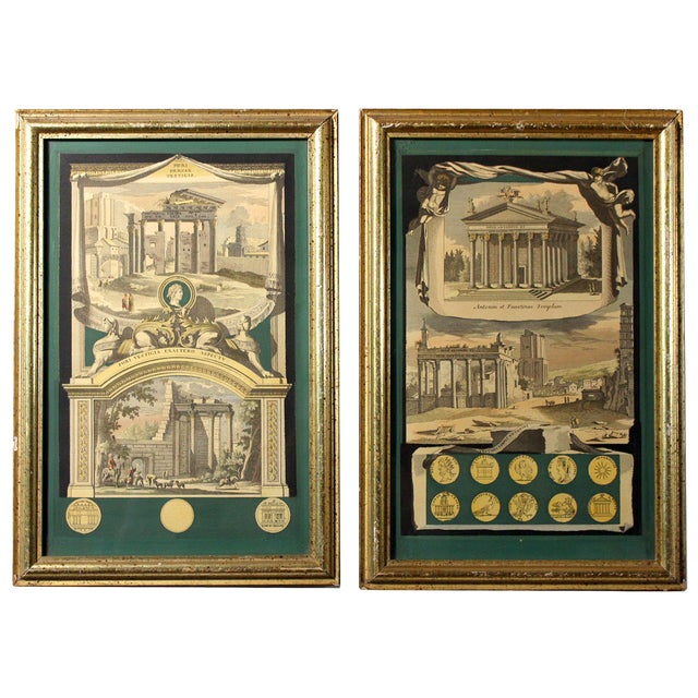 Early 1800s Antique Italian Neoclassical Hand Colored Roman Temple & Ruins Engravings in Gilt Wood Frames - a Pair For Sale