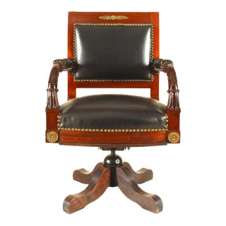 French Empire Black Leather Swivel Chair For Sale