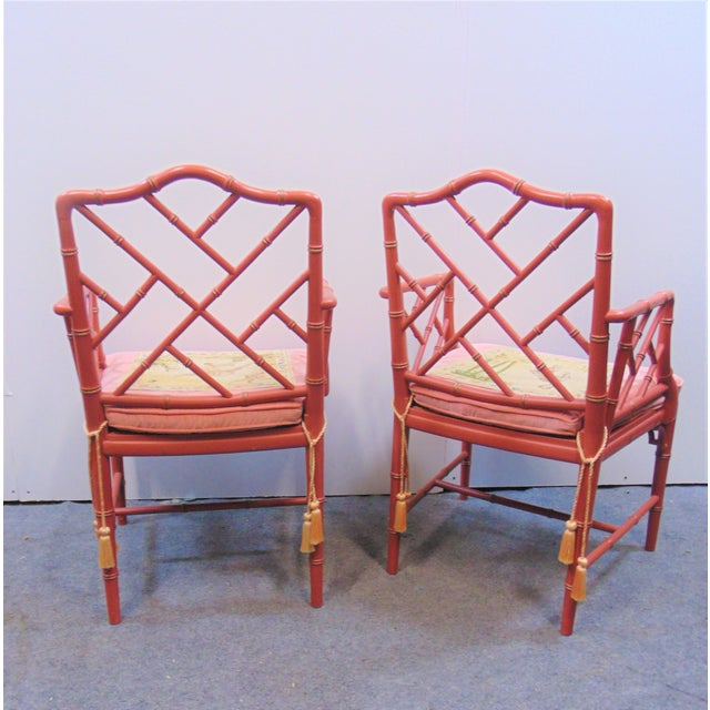 Mid 20th Century Mid 20th Century Regency Faux Bamboo Rose Arm Chairs - a Pair For Sale - Image 5 of 9