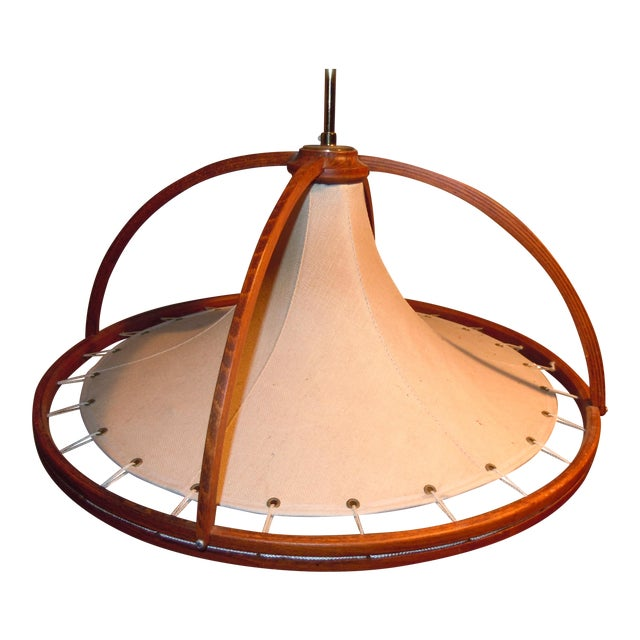 Danish Modern Teak & Canvas Pendant Light - Image 1 of 7