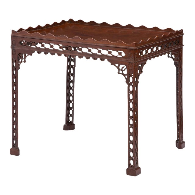 Antique 18th C Chinese Chippendale Mahogany Fret Carved Silver Table - Therien's Private Collection For Sale
