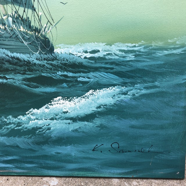 Nautical Vintage Oil on Canvas Painting of Ship For Sale - Image 3 of 5