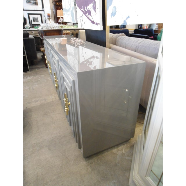 Art Deco ModShop Art Deco Gray Lacquer W/ Gold Pulls Sideboard For Sale - Image 3 of 9