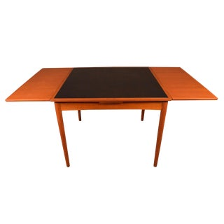 Vintage Danish Mid-Century Teak Flip Top Game Table by Poul Hundevad For Sale
