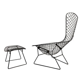 """Harry Bertoia for Knoll """"Bird Chair"""" and Ottoman For Sale"""