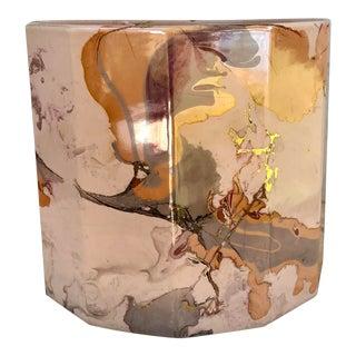 1950s Ceramic 12 Sided Planter With Marblized Glaze For Sale