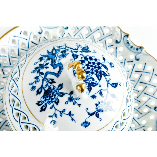 Blue 4 Piece Set of Porcelain Tableware For Sale - Image 8 of 13
