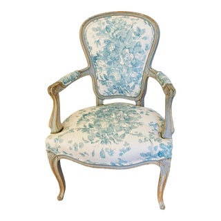 Antique French Chair With Blue Floral Upholstery For Sale