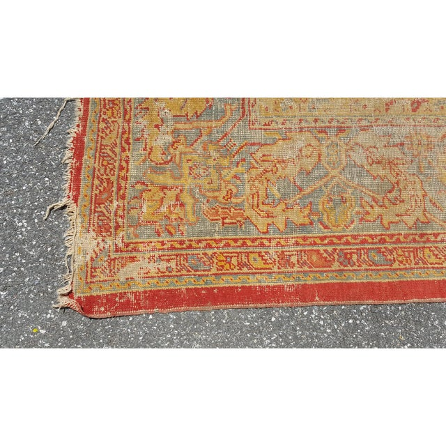 Early 19th Century Antique Turkish Oushak Rug - 9′6″ × 13′4″ For Sale - Image 10 of 12