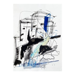 """Contemporary Abstract Acrylic, Charcoal, Oil Pastel and Graphite on Paper Painting """"Nordic Waves"""" by Adrienn Krahl For Sale"""