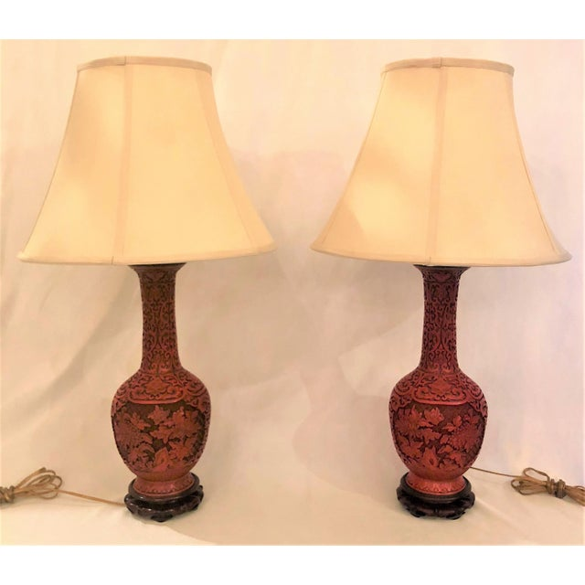 Pair Antique Late 19th Century Chinese Cinnabar Lamps. For Sale - Image 4 of 4
