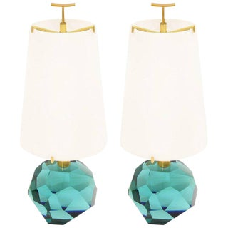 "Pair of Lamps ""Diamante Blu"" by Roberto Giulio Rida For Sale"