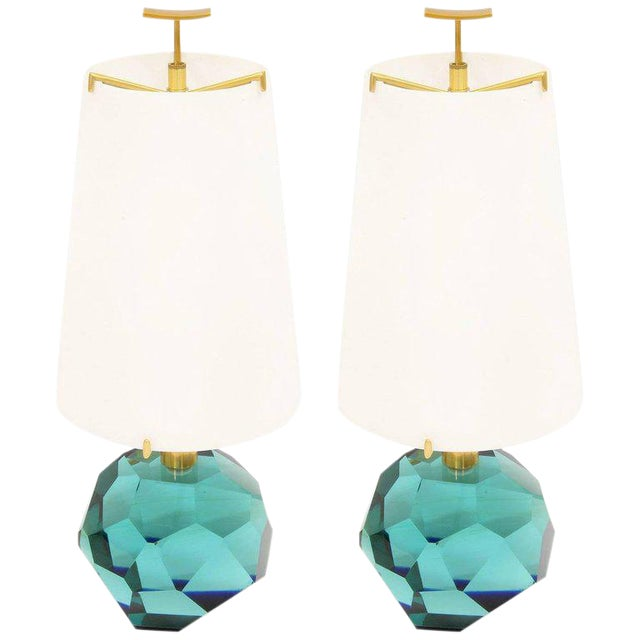 "Pair of Lamps ""Diamante Blu"" by Roberto Giulio Rida For Sale"