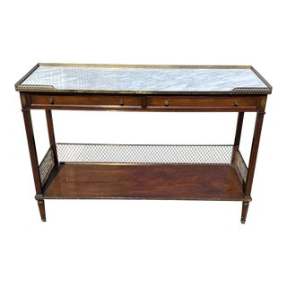 Regency Style Mahogany Marble Top Console For Sale