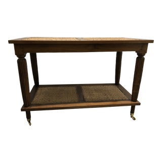 Mid 20th Century Rattan & Wood Bar Cart For Sale