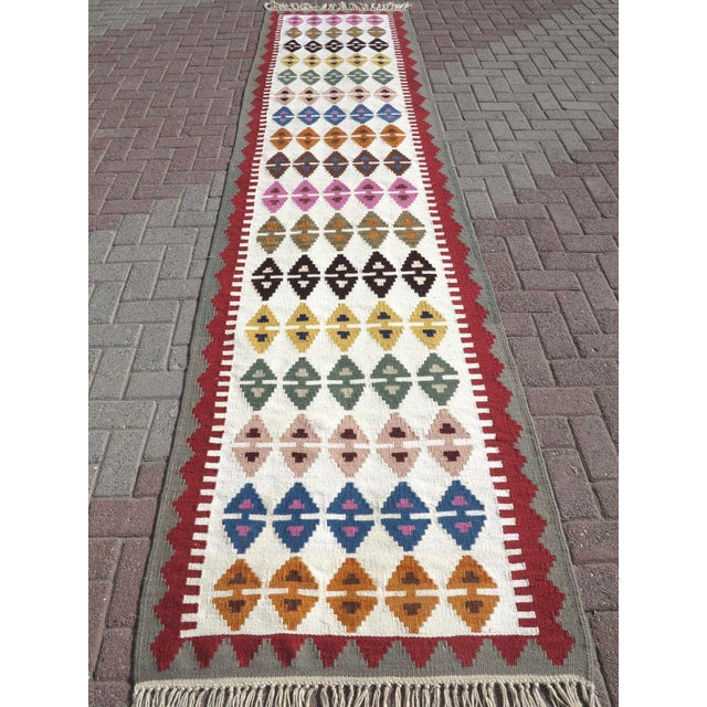 "Anatolian Turkish Kilim Runner-3'1'x13"" For Sale - Image 13 of 13"