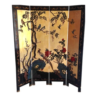 20th Century Antique Chinese Gold Leaf & Black Lacquer Screen For Sale
