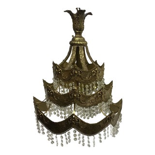 French Gold Tier Swag Lamp Chandelier For Sale
