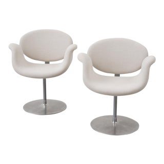 Pair of Pierre Paulin Tulip Chairs in Libeco Linen, Netherlands, 1970s