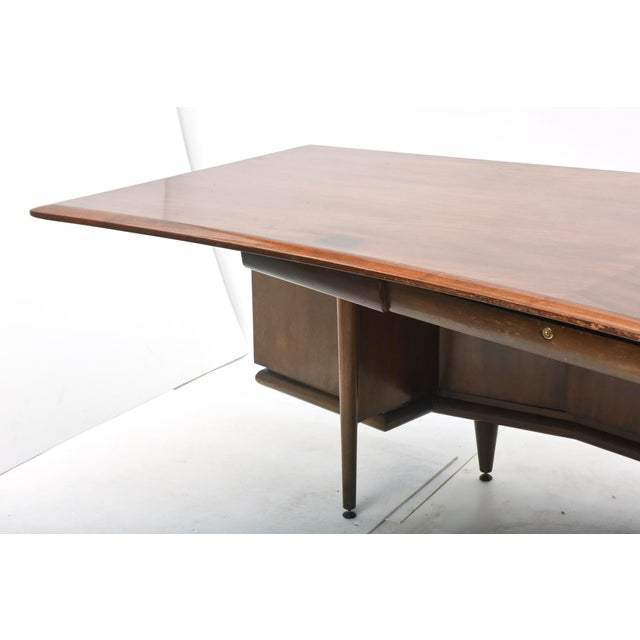 Early American Fine American Modern Dark Walnut Executive Desk, Custom Made by Monteverdi Young For Sale - Image 3 of 10