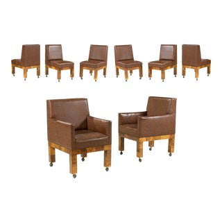 Set of 8 Mid-Century Paul Evans Burl Patchwork Dining Chairs For Sale