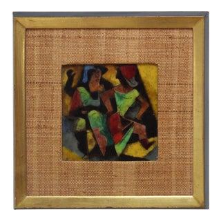 1950s Karl Drerup Enamel on Copper Frame Artwork For Sale