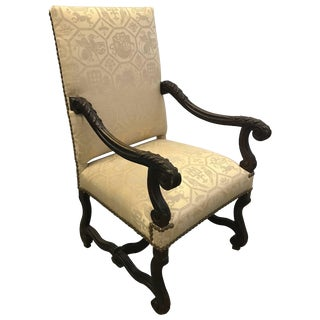 English Carved Walnut Throne Lolling Chair With Brass Nailhead Trim For Sale
