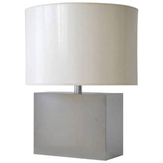Mid-Century Mirrored Chrome Rectangular Table Lamp by Kovacs For Sale