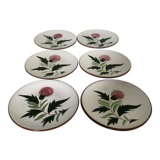 """Midcentury Stangl Pottery """"Thistle """" Set of 6 Dessert/Bread Plates For Sale"""