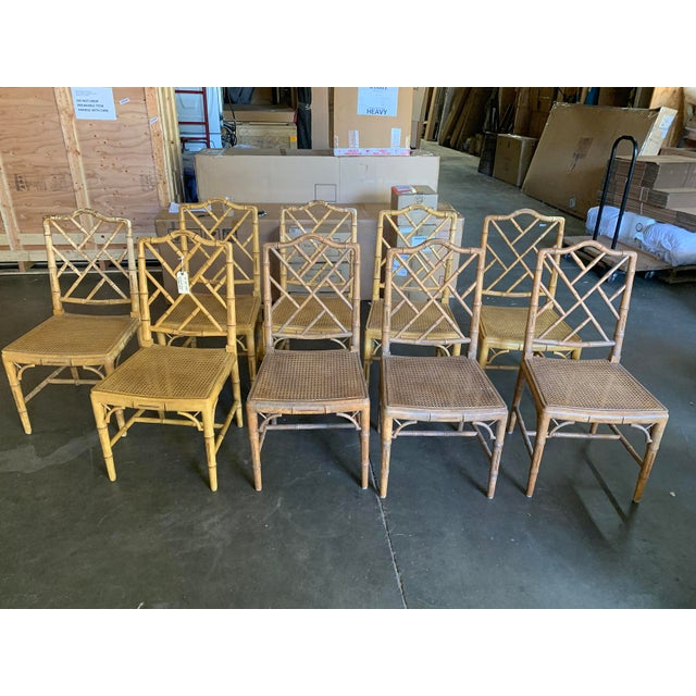 Set of (10) Mid-20th Century Faux Bamboo Dining Chairs With Cane Seats 8 side chairs, a pair of host & hostess armchairs...