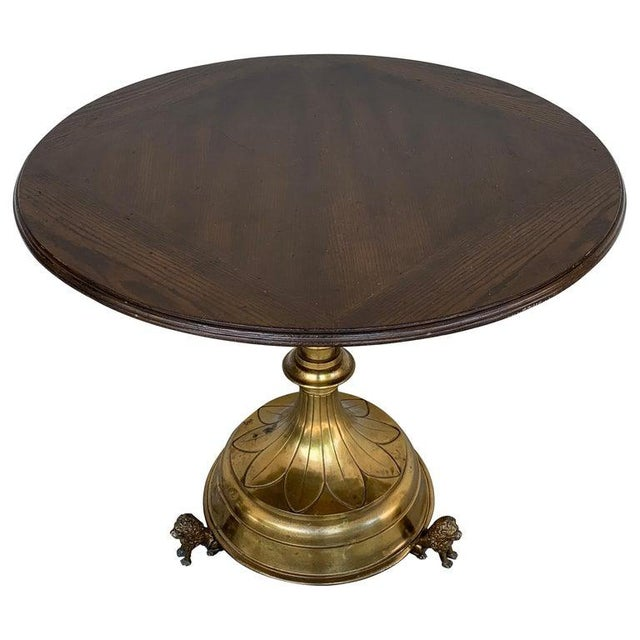 Antique English Brass and Mahogany Lion Motif Pub Table For Sale - Image 10 of 10