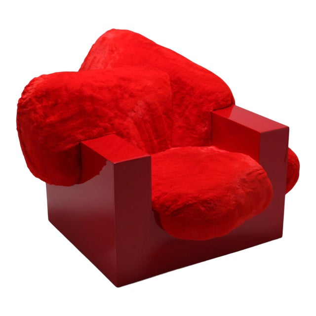'Pillow Lounge Chair' in Red Lacquer and Faux Fur by Schimmel & Schweikle For Sale